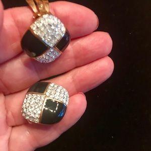 Jewelry - Diamond and Onyx Fashion clip on earrings